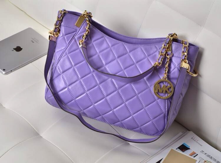厂家直销 MK进口羊皮菱格链条包 手提包单肩包真皮女包紫色