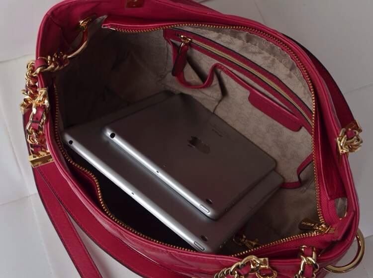 Michael Kors 2014新款女包 原版羊皮链条单肩手提包 玫红