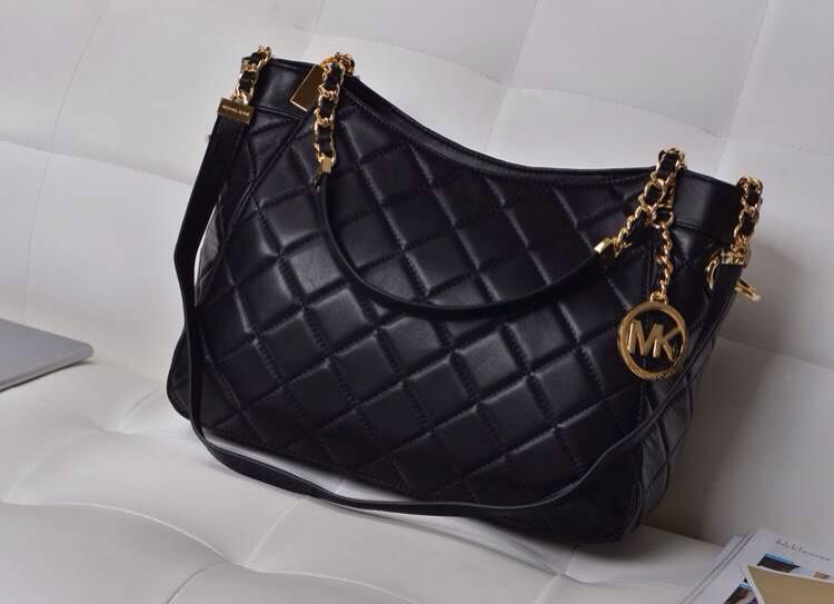 MK包包批发 黑色 原版顶级羊皮菱格女包 时尚百搭链条单肩包