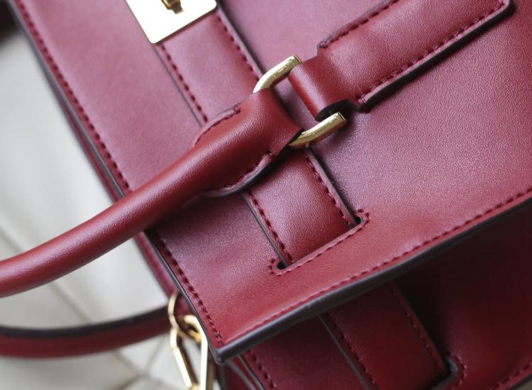 2014秋冬新款 MK蝙蝠锁头包中号 原版进口牛皮 酒红色 女士单肩手提包