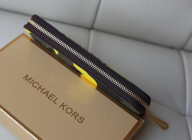 MK2014专柜同步新款钱包 原版牛皮迷彩系列钱包拉链手包 黄色