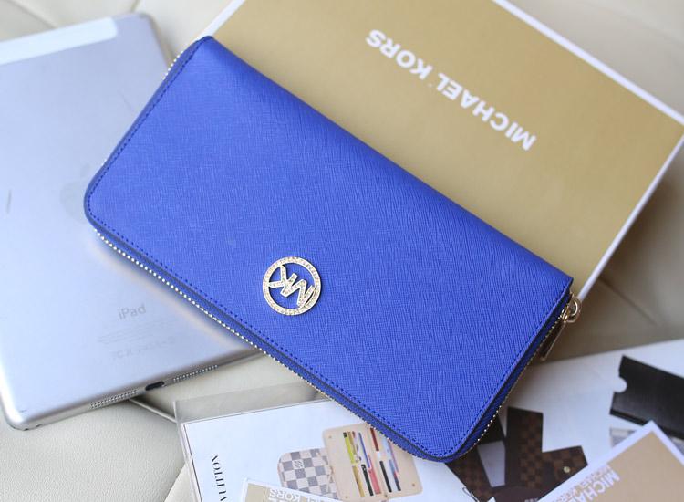 工厂直销 原版进口顶级皮 MK新款镶钻钱夹 电光蓝 时尚女士长款拉链钱包
