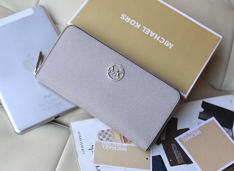 MK原版皮镶钻拉链钱包  灰色十字纹牛皮女款钱夹手包欧美风格