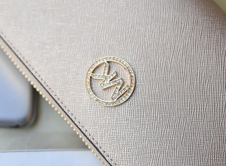 一件代发 MK进口原版十字纹牛皮钱夹 长款镶钻拉链钱包手包 香槟金