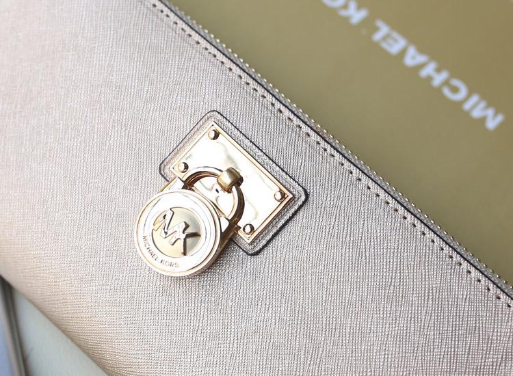 一件代发 MK新款锁头钱夹 香槟金色 顶级进口十字纹牛皮拉链钱夹钱包