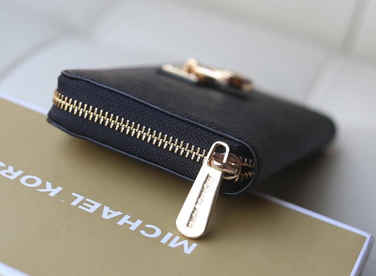 高档真皮钱包 MK原版十字纹牛皮锁头钱包 黑色 拉链女钱包长款手包卡包