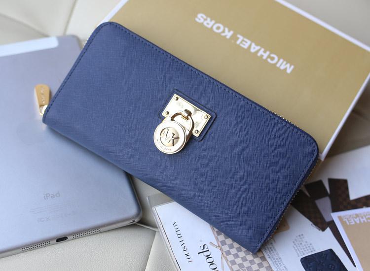 MK2014新款钱包 原版十字纹牛皮 宝蓝色 拉链长款钱包手包