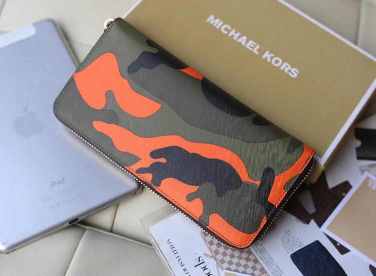 厂家直销 MK新款迷彩系列钱包 橙色 原版牛皮长款钱夹拉链钱包