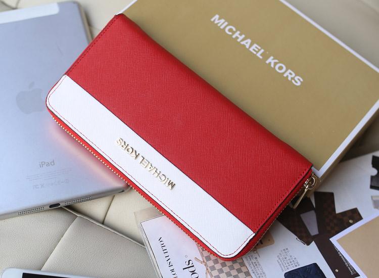 Michael Kors 原版十字纹牛皮 拼色系列钱包 红色 拉链钱包钱夹手包