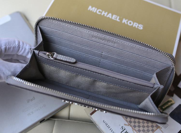 MK钱包批发 进口原版十字纹牛皮 灰色 女士长款拉链钱包手包