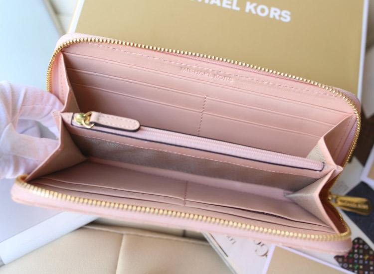 Michael Kors秋冬新款钱包 原版进口羊皮V型车线钱夹 米白色长款女钱包手包