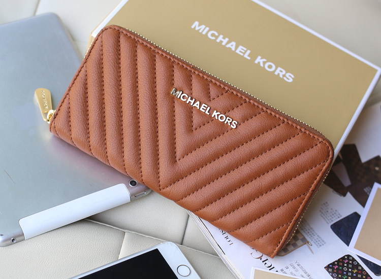 工厂直销 2014新款MK原版羊皮车V线拉链钱包 棕色 女款长手包钱夹