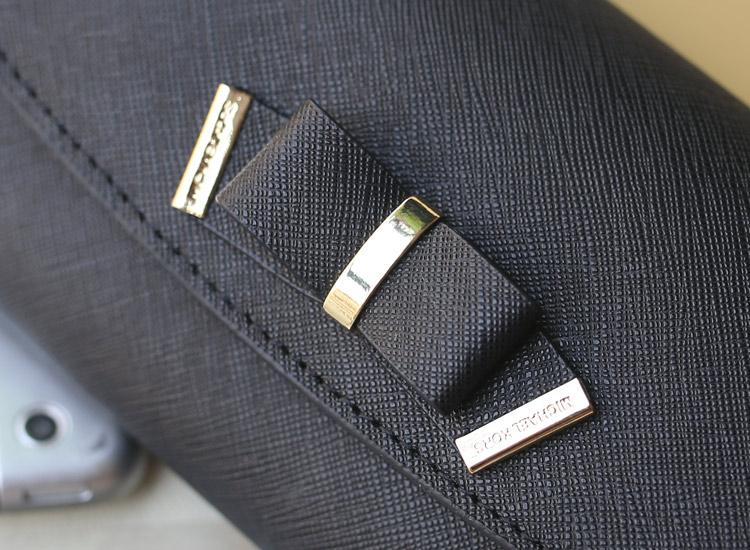 时尚新款蝴蝶结钱包 MK原版十字纹牛皮 翻盖搭扣长款女钱夹手包 黑色