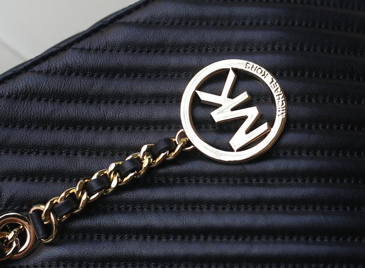 高仿MK包包批发 MK2014秋冬新款进口羊皮车V线托特包中号 真皮女包单肩购物袋 黑色