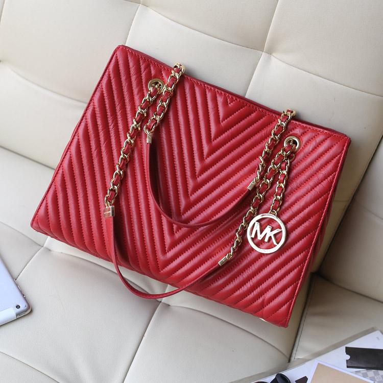 高档女包批发 MK2014专柜同步新款原版羊皮托特包 大红色女士链条单肩包