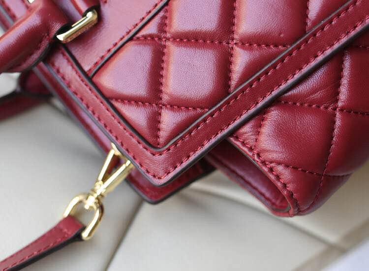 高仿MK包包批发 顶级原版羊皮菱格笑脸蝙蝠包 枣红色大号 新款女手提单肩包