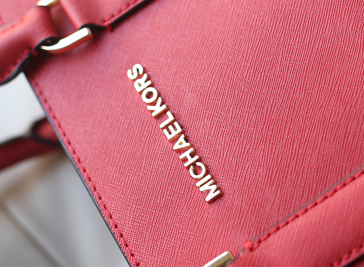 一件代发 MK原版牛皮十字纹女包 2015官网同步新款手提单肩包 红色