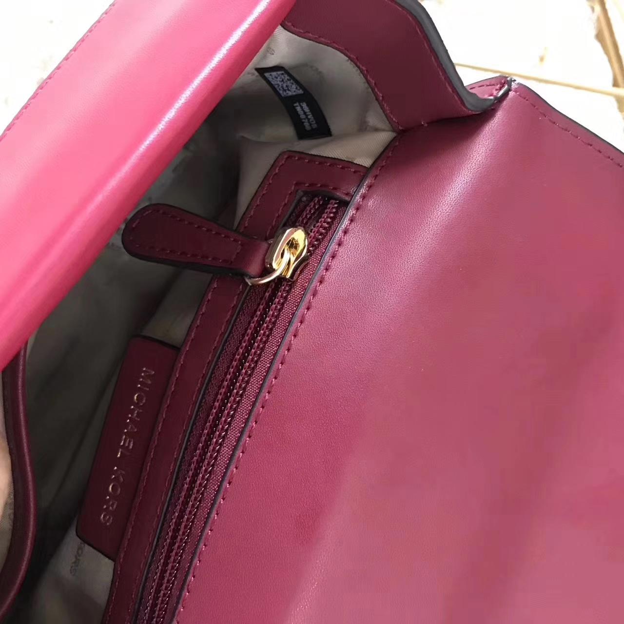 厂家直销 MK新款包包迈克科尔斯酒红色进口纳帕牛皮信封包手提单肩包24cm