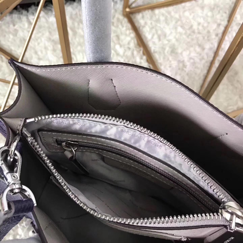 杨幂同款MK包包 迈克科尔斯原单鸢尾花紫荔枝纹牛皮Mercer锁头包