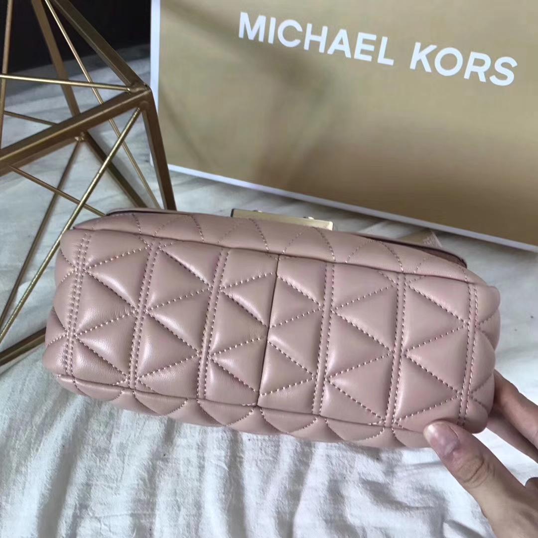 2017MK新款女包 粉色原版羊皮三角纹链条包单肩女包大号27CM