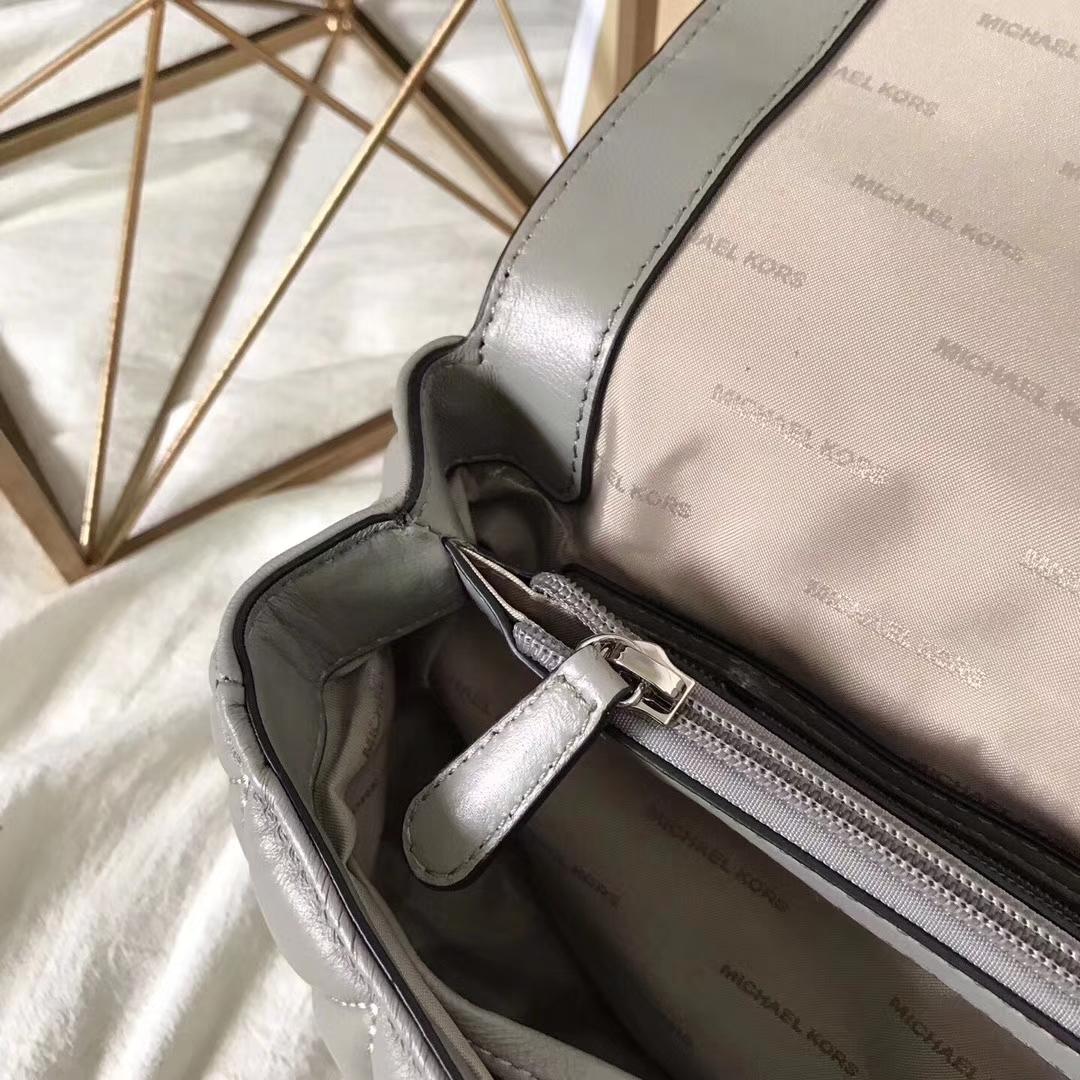 广州包包批发 MK17年秋冬新款灰色原版羊皮三角纹链条包单肩女包大号27CM