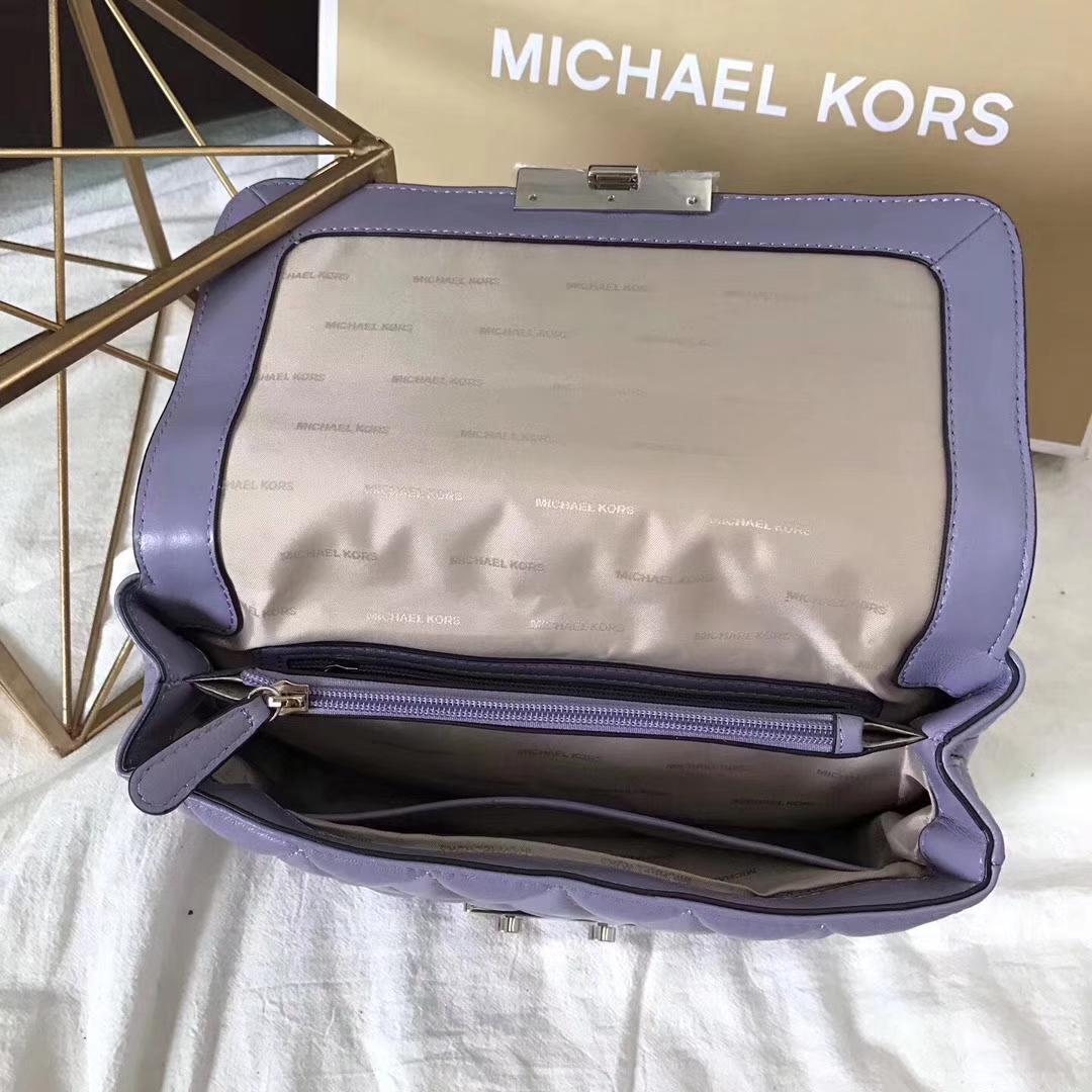 MK包包官网 迈克尔高仕17年秋冬新款三角包 紫色羊皮链条包大号27CM