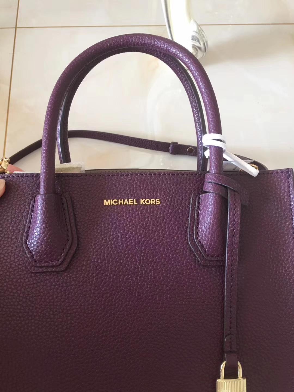 迈克科尔斯包包 MK新款女包原单紫红色荔枝纹牛皮Mercer锁头手提包