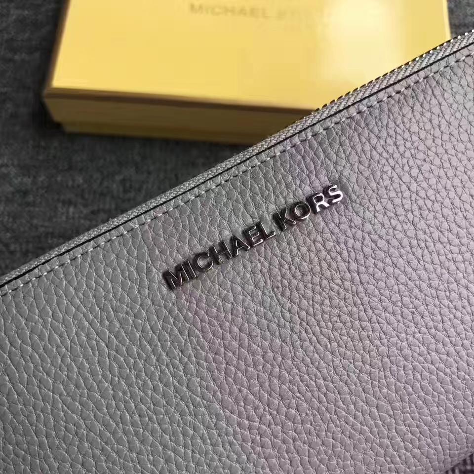 MK新款钱夹 迈克科尔斯荔枝纹牛皮拉链长款Mercer手包钱包 灰色