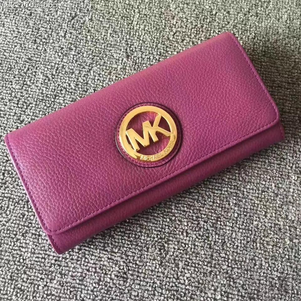 MK新款钱夹 迈克高仕官网同步荔枝纹牛皮MK长款吸扣钱包手包 深紫色