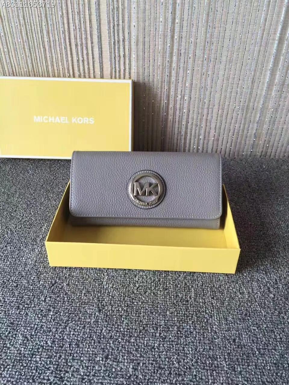 MK新款钱夹 迈克高仕大金牌三折吸扣长款钱包手包20cm 灰色