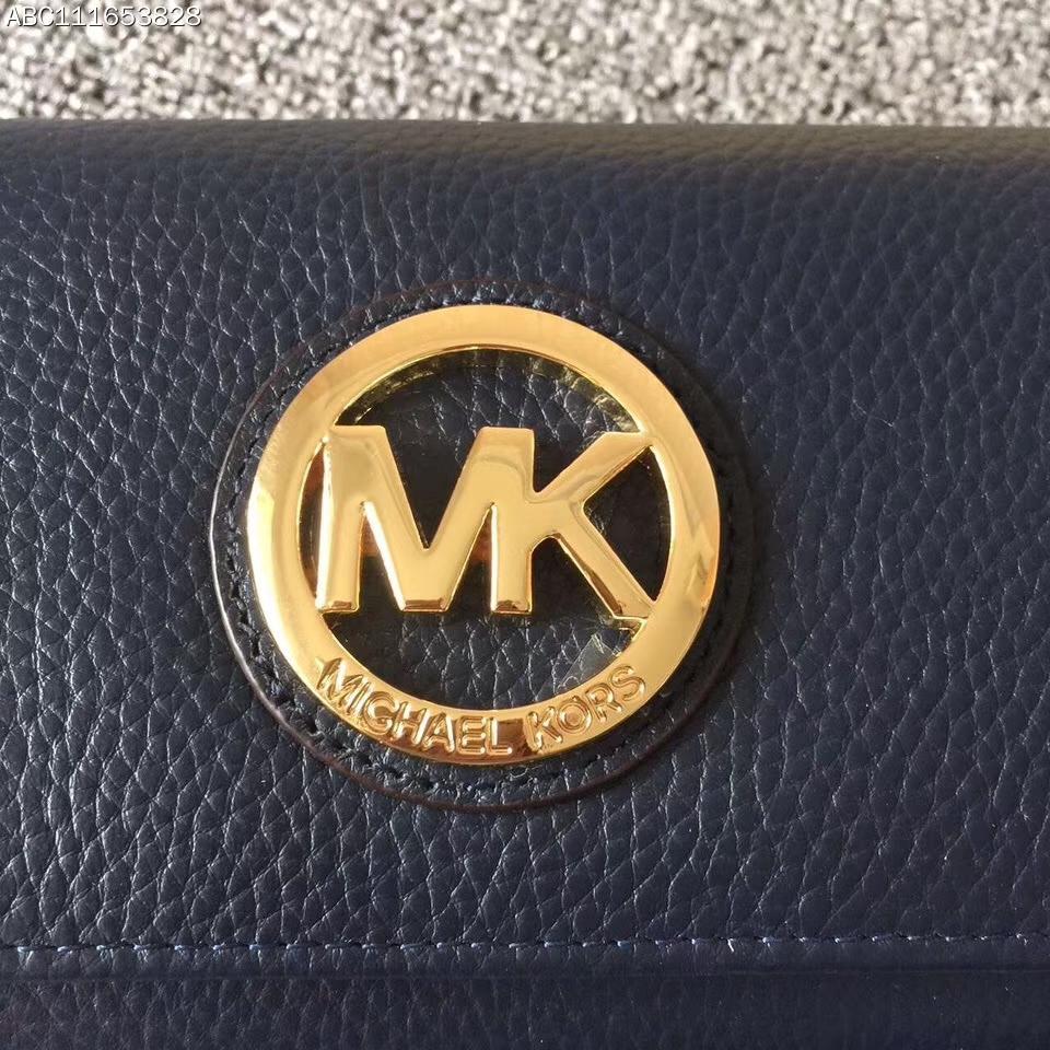 MK迈克科尔斯 深蓝色荔枝纹牛皮大金牌三折吸扣钱包手包20cm
