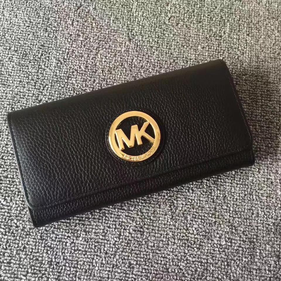 厂家直销 MK迈克科尔斯头层荔枝纹牛皮圆LOGO钱夹三折钱包 黑色