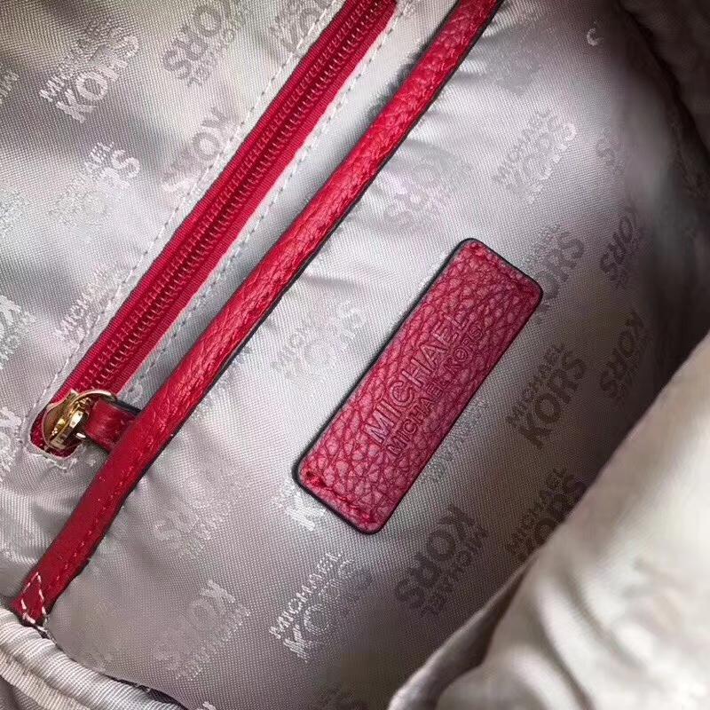 MK包包官网 迈克高仕红色荔枝纹牛皮MK铆钉双肩包女款旅行背包25*32cm