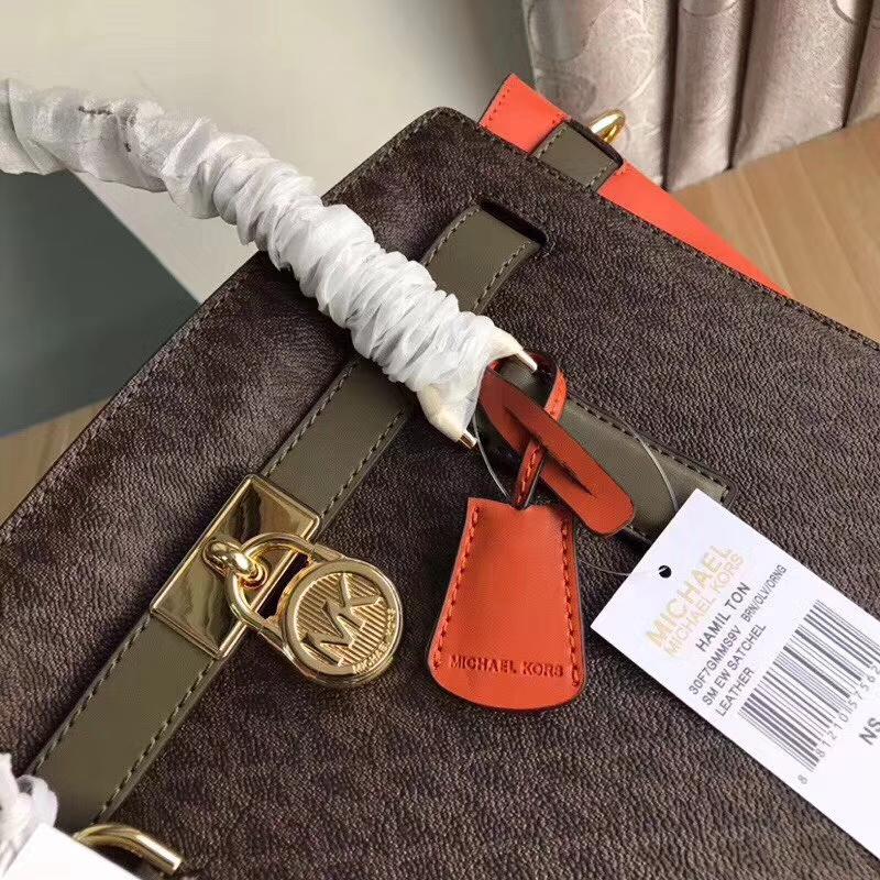 MK2017新款女包 迈克科尔斯拼色MK锁头包手提单肩包29CM 橙色拼