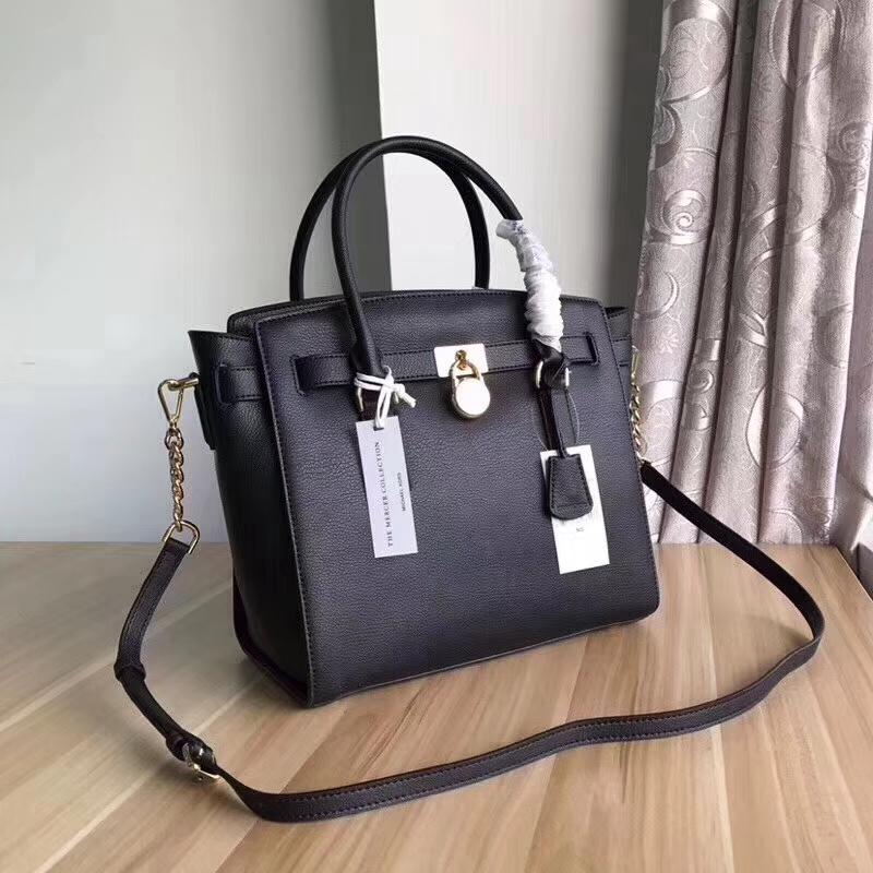 MK新款包包 迈克科尔斯山羊纹牛皮锁头包女款手提包 黑色