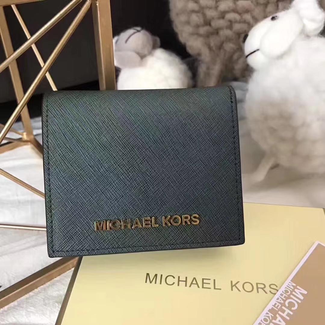 MK迈克尔高仕新款钱包 绿色进口十字纹牛皮短款吸扣钱夹12CM