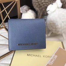 MK钱包价格 迈克尔高仕进口十字纹牛皮吸扣短款钱夹卡包12CM 车菊蓝色