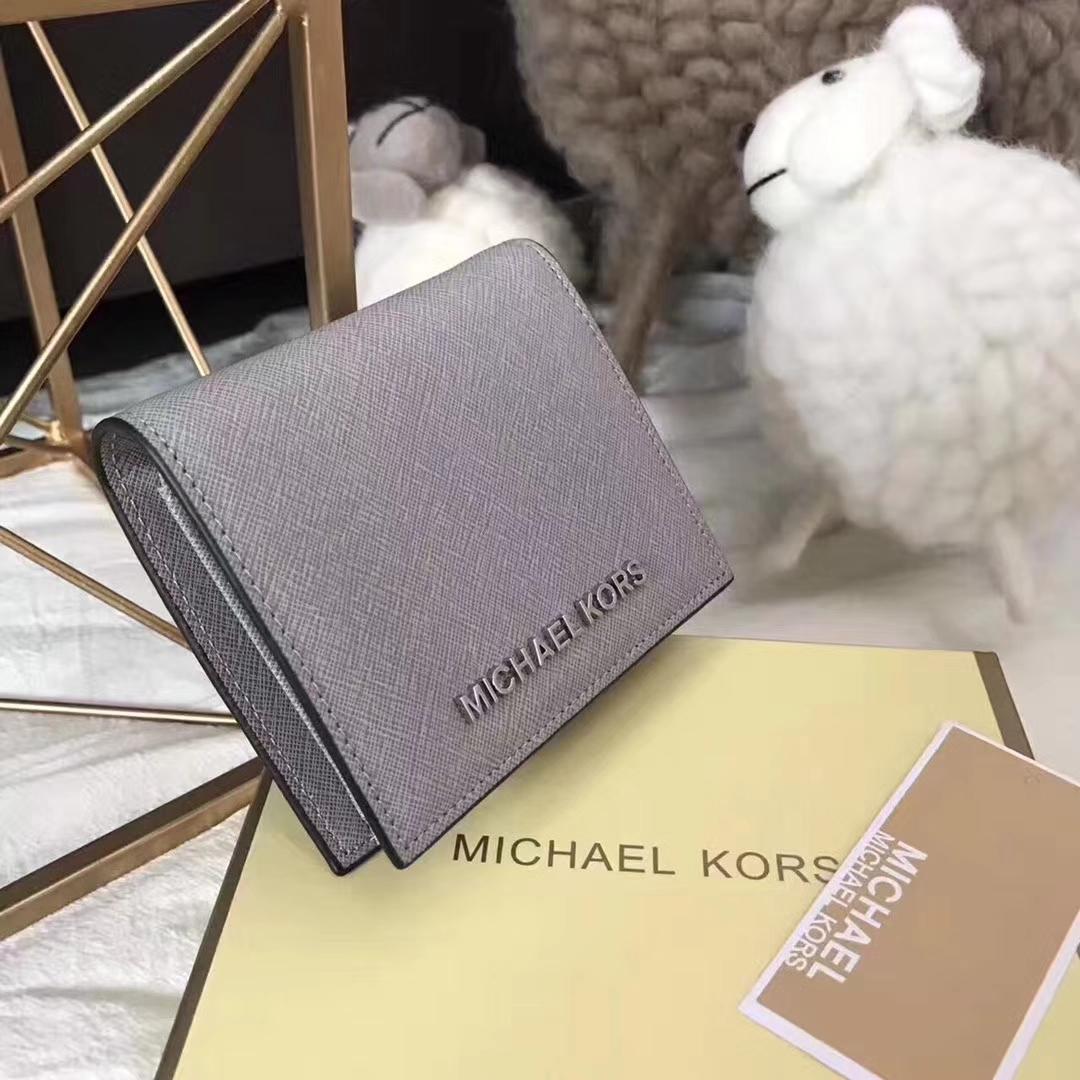 迈克科尔斯钱夹 MK进口十字纹牛皮吸扣短款钱包卡包 灰色