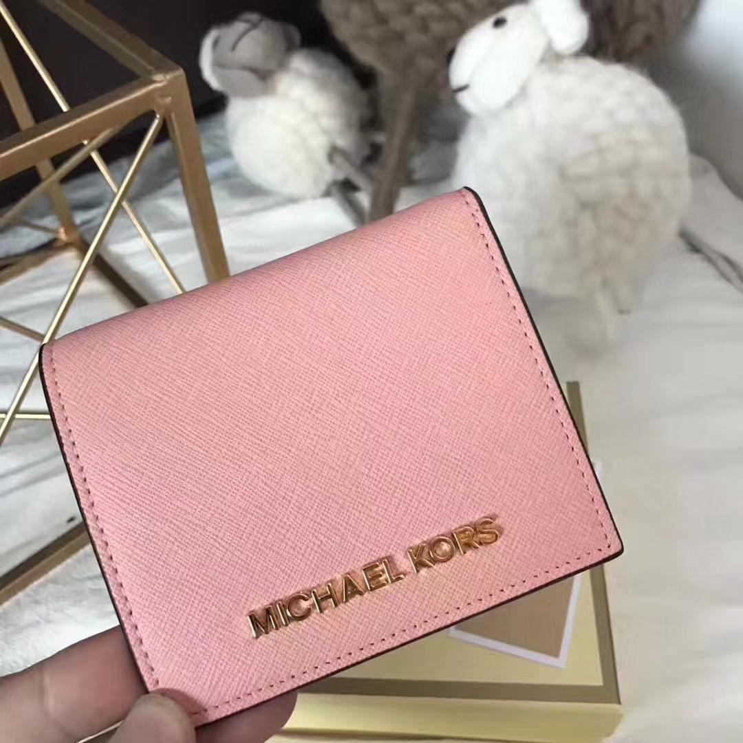 MK钱夹批发 迈克科尔斯虾粉色进口十字纹牛皮短款吸扣钱包12CM