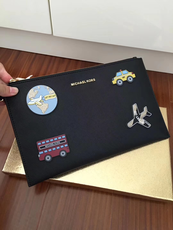 MK新款钱包 迈克科尔斯自由贴十字纹牛皮拉链大手包29*18cm 黑色