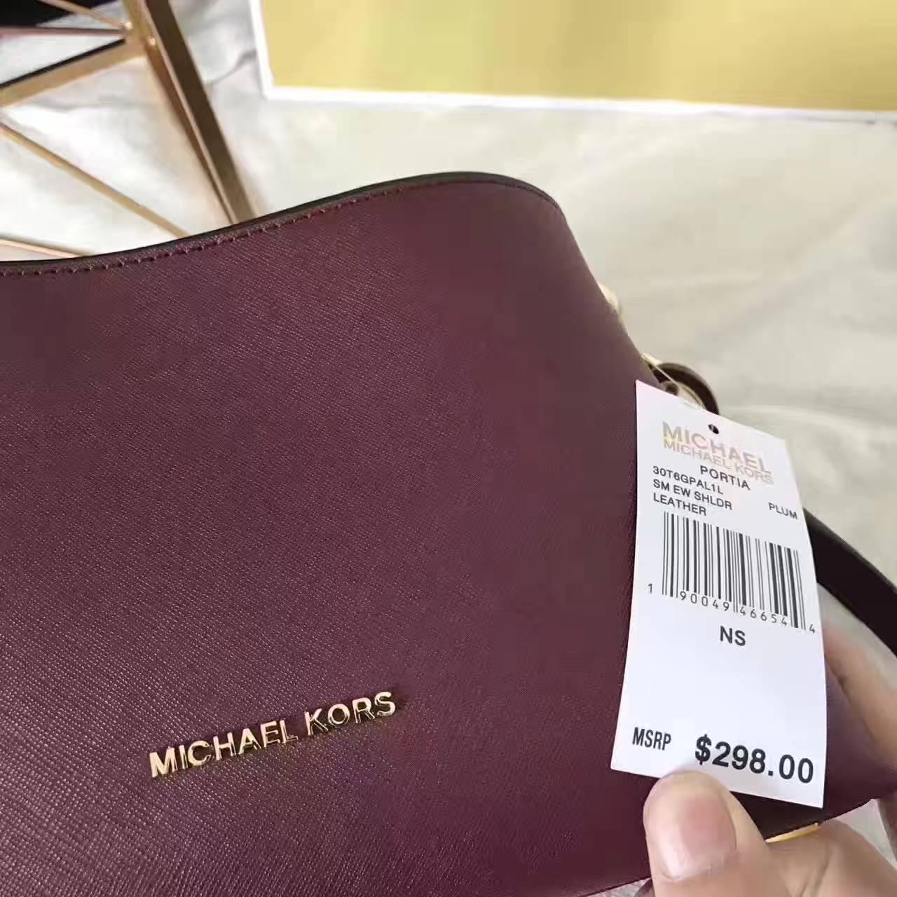 MK女包价格 迈克高仕新款酒红色十字纹牛皮单肩斜挎女包玉石包