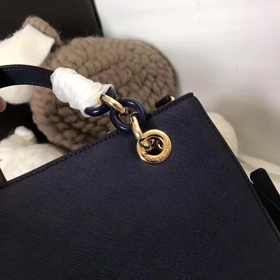 MK包包价格 迈克高仕进口十字纹牛皮玳瑁包手提单肩包24cm 深蓝色