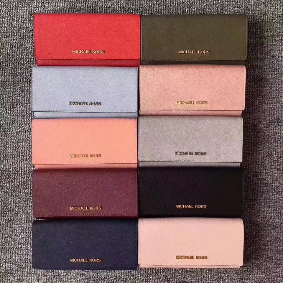 迈克科尔斯钱包 MK新款十字纹牛皮翻盖长款钱夹手包19cm 浅粉色