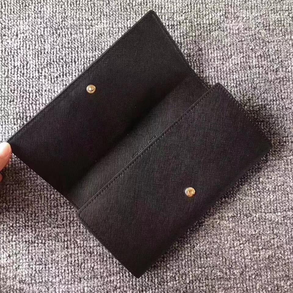 MK新款钱夹 迈克高仕十字纹牛皮翻盖长款钱包19cm 黑色
