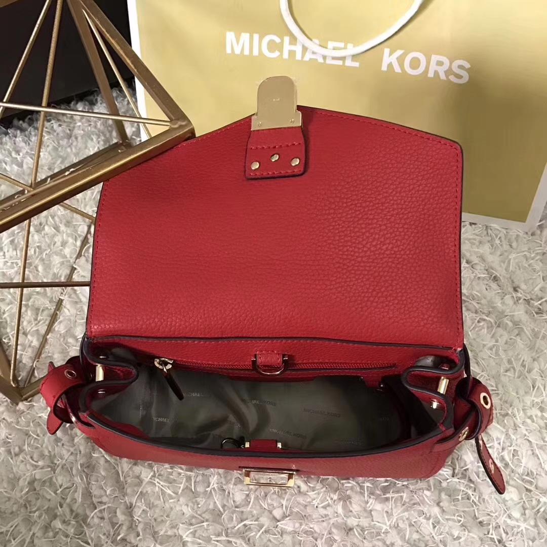 MK新款包包 迈克科尔斯摔纹牛皮Bristol翻盖铆钉剑桥包22cm 红色