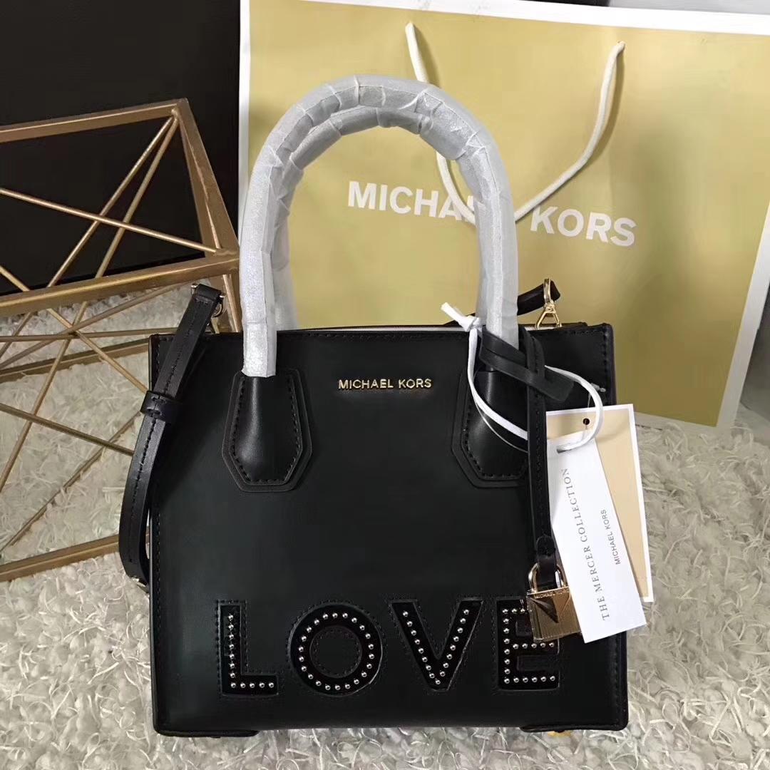 MK新款女包 专柜限量款MercerLove牛皮手提单肩女包22cm 黑色