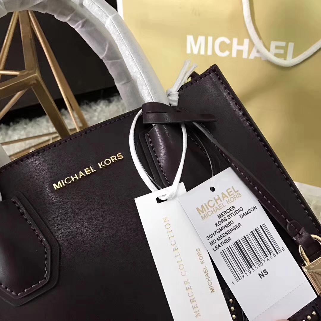 厂家直销 MK迈克高仕新款平纹牛皮MercerLove手提女包22cm 深紫色