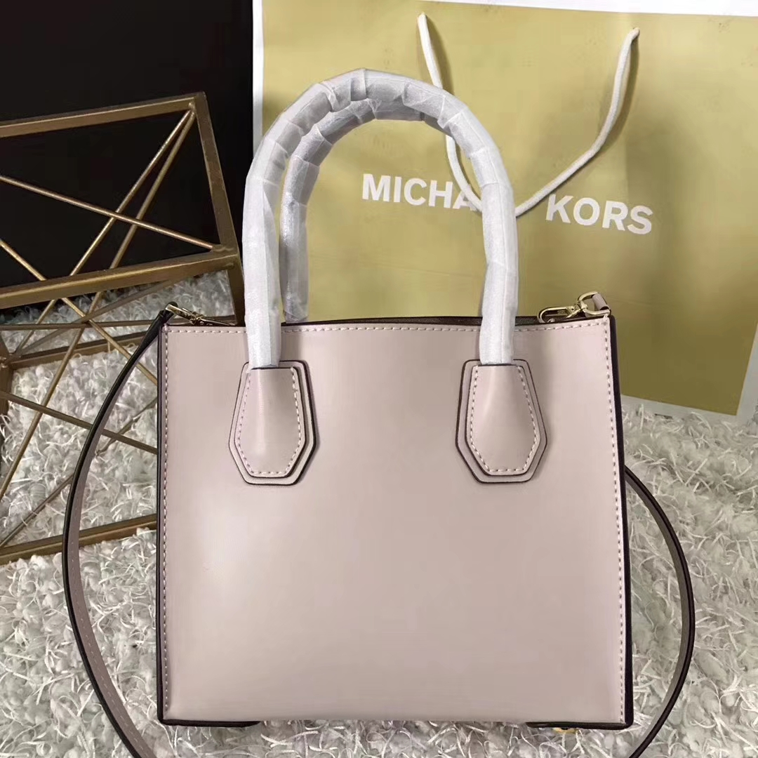 高档女包批发 MK迈克科尔斯粉色平纹牛皮 MercerLove手提单肩女包22cm