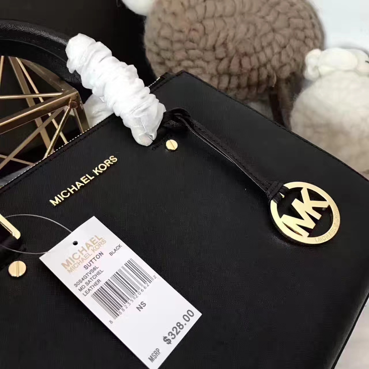 厂家直销 MK迈克科尔斯黑色原单十字纹牛皮双拉链中号杀手包32cm