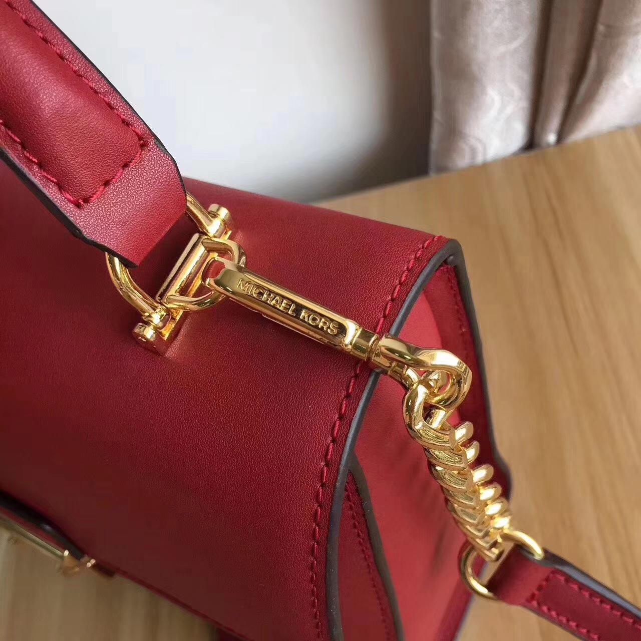 MK包包官网 迈克科尔斯17年新款头层纳帕牛皮手提女包24cm 樱桃红色